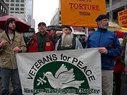 Protesta en Washington DC en contra de la guerra de Irak.