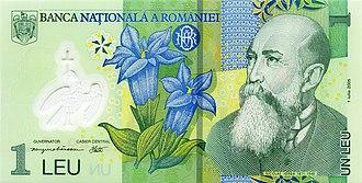 Romanian leu - Image: 1 leu. Romania, 2005 a