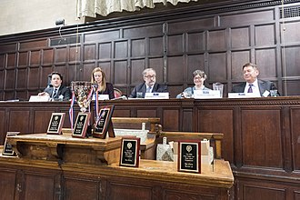 Price Media Law Moot Court Competition - The judges for the 2016 international championship final with European Court of Human Rights judge Boštjan Zupančič presiding; judges in the final typically include lawyers working with the likes of facebook and Microsoft.
