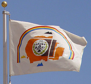 Flag of the Navajo Nation - The Navajo flag flying