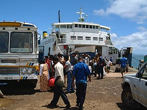 Vanua Levu - Ferry and bus at the port of Nabouwalu