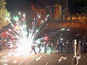 2004 Redfern riots - Fireworks being shot at police during the riot