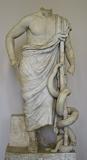 Statue of Asclepius in the Pergamon Museum, Berlin.