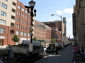 Westside, Baltimore - Eutaw Street looking south on the Hippodrome Theater block.