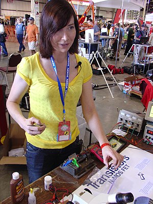 "Women in engineering - Autodidact computer chip designer and inventor Jeri Ellsworth at the Bay Area ""Maker Faire"" in 2009."