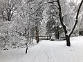 2018-03-21 12 26 05 View along a snow-covered walking path as it crosses a bridge in the Franklin Glen section of Chantilly, Fairfax County, Virginia.jpg