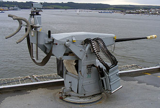 Oerlikon 20 mm cannon - A modern Oerlikon cannon (Oerlikon 20mm/85 KAA) on a Royal Navy warship