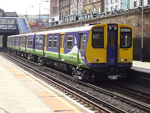 British Rail Class 313 - Silverlink Class 313/1 313101 at Kilburn High Road. The Class 313/1 are no longer used by London Overground. After being replaced by new Class 378 units, they were transferred to Southern and Great Northern