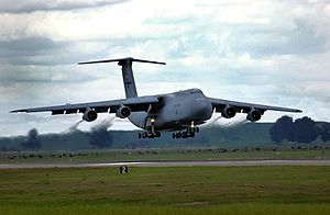 349th Operations Group - A Travis C-5 Galaxy returns from a training flight