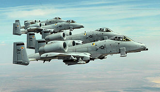 Davis–Monthan Air Force Base - Four A-10s from Davis-Monthan fly in formation over Arizona