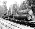 4-6-0 Lewis & Clark locomotive -154 with log car, Warren Spruce Company, ca 1918 (KINSEY 2623).jpeg