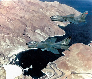 4450th Tactical Group - Two A-7D Corsair IIs of the 4450th TG Flying over Hoover Dam, 1986. Shown are 70-1006, the other being the 4450th TG Commander's aircraft