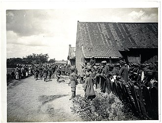Merville, Nord - 6th Jat Regiment marching into its billet, July 1915