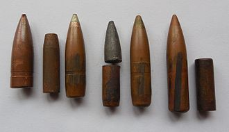 7.62×54mmR - From left to right: L type bullet with lead core, LPS bullet with steel core aside, green tip T-46M tracer with tracer cup (opened both at top and bottom) and lead tip aside, T-46 tracer with extended cup (opened only at the bottom). All bullet jackets and tracer cups are made from copper washed steel.