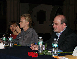 Salman Rushdie - Rushdie, right, with writers Catherine Lacey and Siri Hustvedt at the 2014 Brooklyn Book Festival