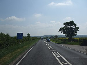 A17 road (England) - Approaching Leadenham from the west with the Lincoln Cliff in the distance