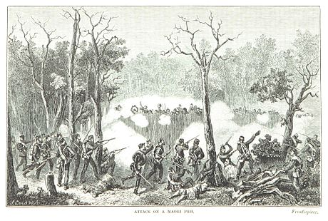 Attack on a Maori pa by Sir James Edward Alexander, Commander of the West Yorkshire Regiment. ALEXANDER(1873) p010 ATTACK ON A MAORI PAH.jpg