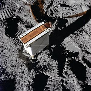 Charged Particle Lunar Environment Experiment - A close-up view of the CPLEE on the Moon's surface