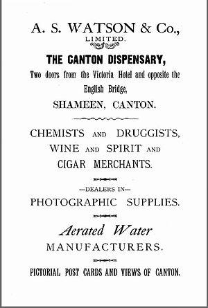 Watsons - A.S. Watson advertisement, 1923