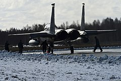 A U.S. Air Force F-15C Eagle aircraft assigned to the 493rd Expeditionary Fighter Squadron taxis to a runway March 18, 2014, as part of Baltic Air Policing in Šiauliai, Lithuania.