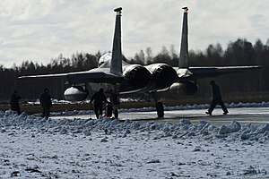 A U.S. Air Force F-15C Eagle aircraft assigned to the 493rd Expeditionary Fighter Squadron taxis to a runway March 18, 2014, as part of Baltic Air Policing in Šiauliai, Lithuania 140318-F-XB934-135