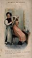 A barber brushing the hair of a man who has very little hair Wellcome V0019660.jpg