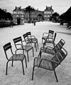A collection of chairs in the Luxembourg Gardens, Paris July 2015.jpg
