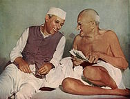 A colored, enhanced print of Nehru with Gandhi at the AICC meeting in Bombay,.jpg