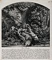 A fox, chased out of its den, is bitten to death by four dog Wellcome V0021084.jpg