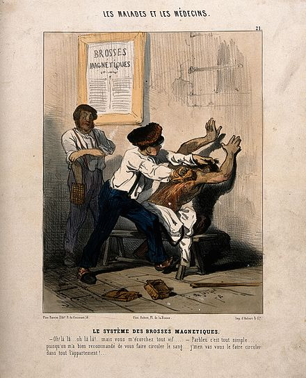 Drawing of a medical treatment using magnetic brushes. Charles Jacque 1843, France. A man is violently rubbed with magnets. Coloured lithograph Wellcome V0011767.jpg