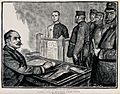 A prisoner is standing in a box in front of a man at a desk, Wellcome V0041203.jpg