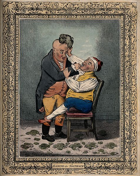 File:A tooth-drawer extracting a tooth from a patient who is in s Wellcome V0012062.jpg