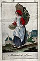 A woman is carrying a large basket strapped to her back whic Wellcome V0039674.jpg