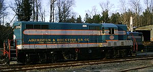 EMD GP7 - Aberdeen and Rockfish Railroad 205 at the company's yard in Aberdeen, North Carolina.