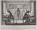 Men working at desks on engravings, in the background art patrons examining framed pictures
