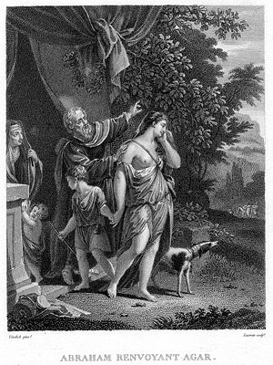 Miraculous births - Banishment of Hagar, Etching. À Paris chez Fr. Fanet, Éditeur, Rue des Saints Pères n° 10. 18th century. Sarah is seen on the left side, looking