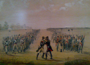 Battle of Tacuarí - Manuel Belgrano and Manuel Cabañas embraced after the battle.