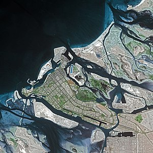 Abu Dhabi - Abu Dhabi seen from SPOT satellite.