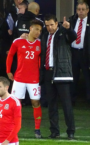 Adam Henley - Henley (left) talks to manager Chris Coleman prior to making his international debut in 2015.