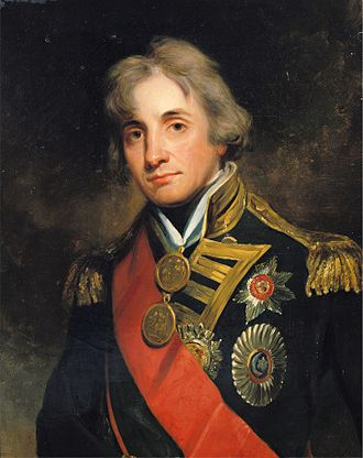 Naval Gold Medal - Lord Nelson wearing large gold medals for St. Vincent and the Nile. With a later  posthumous award for Trafalgar, he was the sole recipient of three large gold medals.