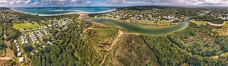 Great Ocean Road - Aerial panorama of the coastal township of Anglesea, Victoria that comes up shortly after Torquay, near the start of the Great Ocean Road