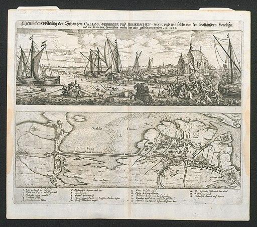 Afbeelding en plan van de slag van Kallo in 1638