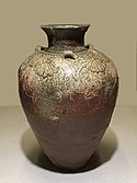 Tamba ware jar with three lugs, end of Heian period, 12th century. Important Cultural Property