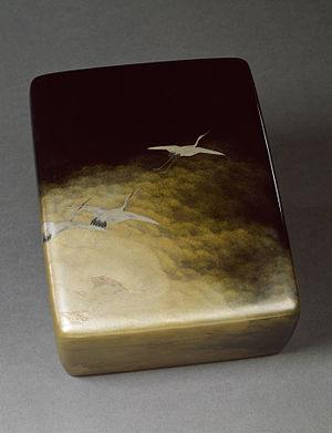 Akatsuka Jitoku - Box for Documents and Papers (ryoshi bako) with Cranes in Flight, Akatsuka Jitoku, c. 1904, lacquer, gold and silver. In the collection of the Walters Art Museum.