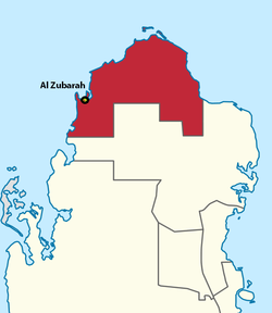 Geographical location of Zubarah.