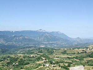 Alburni - The Alburni seen from Caggiano.  The highest peak is the mount Panormo