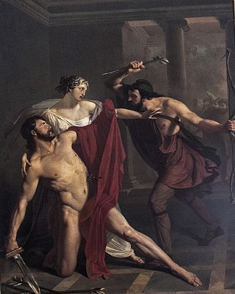Alcibiades - Michele de Napoli (1808–1892): Death of Alcibiades (c. 1839), Naples National Archaeological Museum