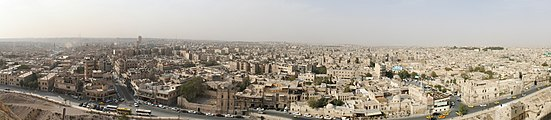 Panoramic view over Aleppo taken from the citadel