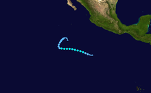 An image depicting the track of a short-lived and weak tropical storm.