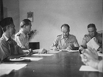 Alexander Evert Kawilarang - Kawilarang (second from left) accepting transfer of sovereignty in Tapanuli